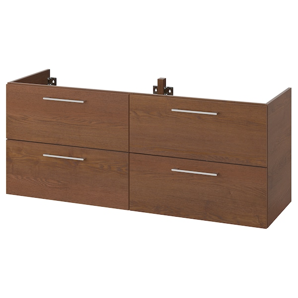 """GODMORGON sink cabinet with 4 drawers brown stained ash effect 55 1/8 """" 18 1/2 """" 22 7/8 """""""