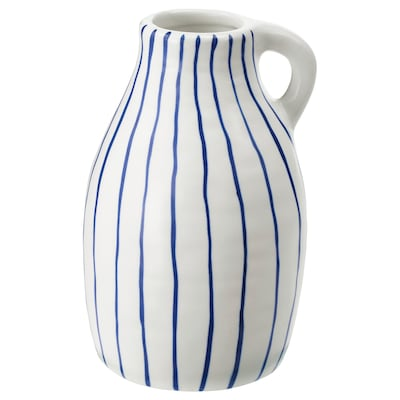 GODTAGBAR Vase, ceramic white/blue, 5 ½ ""