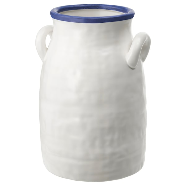 GODTAGBAR Vase, ceramic white/blue, 9 ¾ ""