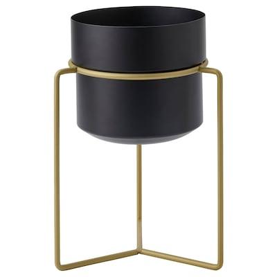 "GOJIBÄR Plant pot with stand, indoor/outdoor black/brass color, 6 """