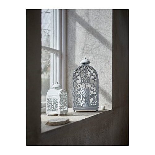GOTTGÖRA Lantern for candle in metal cup IKEA The warm light from the candle shines decoratively through the pattern on the lantern.