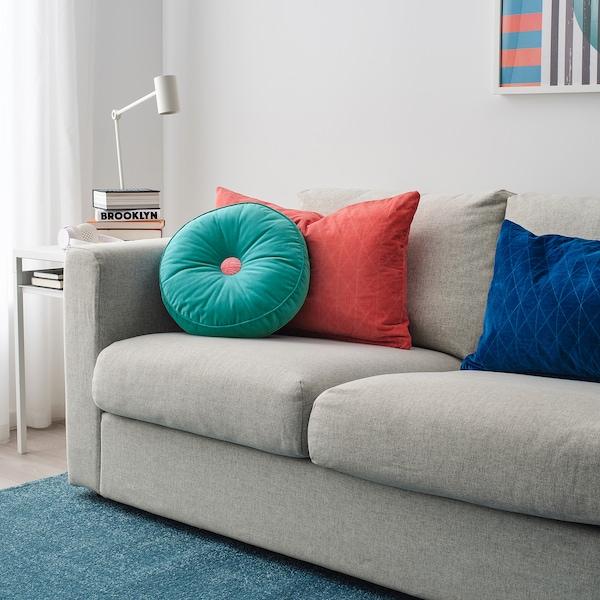 "GRACIÖS Cushion, velvet/turquoise, 14 """