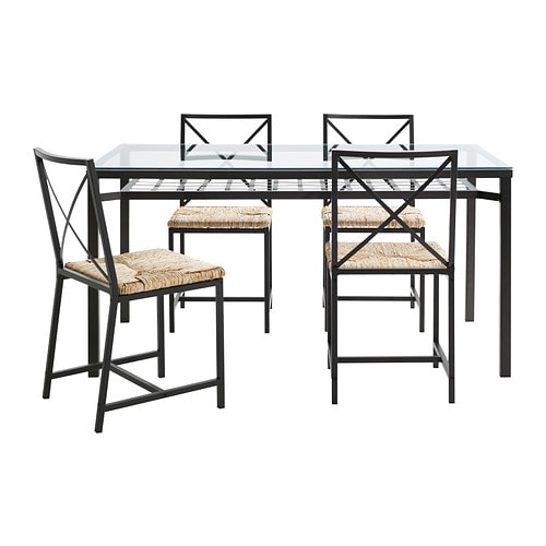 GRANÅS Table and 4 chairs, black, glass