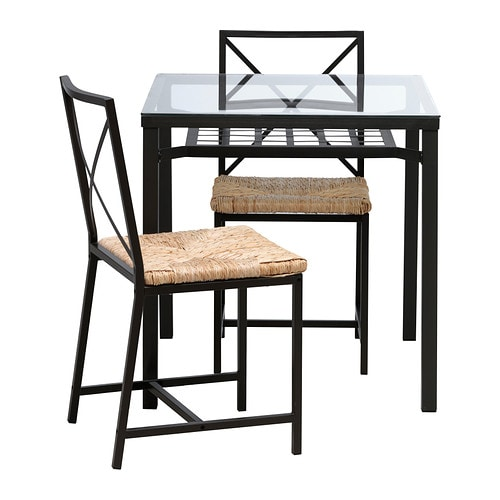GRANÅS Table and 2 chairs, black, glass
