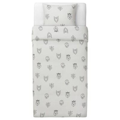 GRÅSVINGEL Duvet cover and pillowcase(s), white/black/flower, Double/Queen