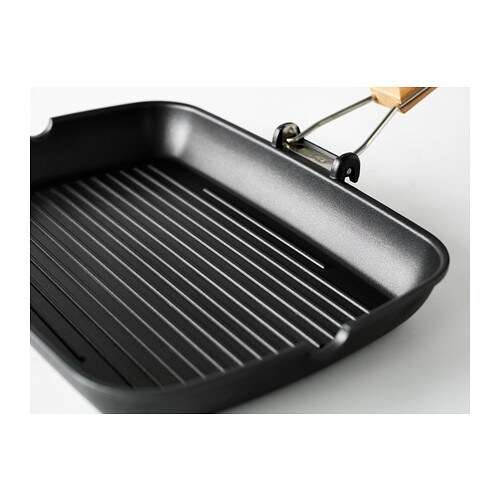 GRILLA Grill pan IKEA The handle can be folded down to save space when storing. Leaves appetizing grill stripes on the food.