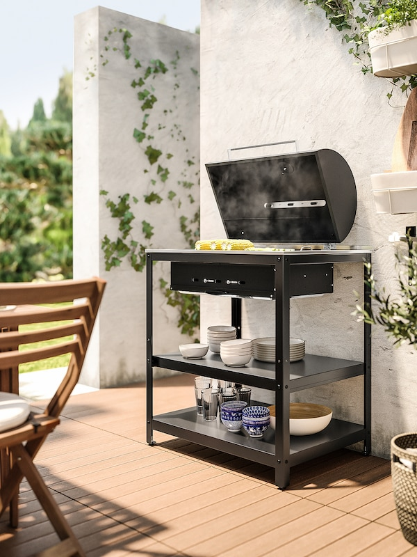 """GRILLSKÄR Charcoal grill, black/stainless steel outdoor, 33 7/8x24 """""""