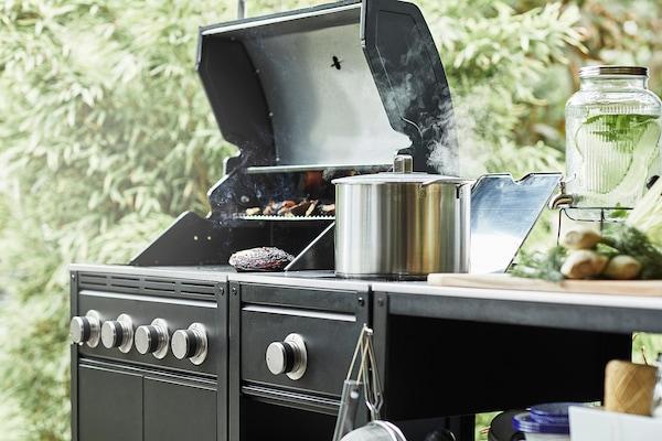 "GRILLSKÄR Gas grill, black/stainless steel outdoor, 28 3/8x24 """