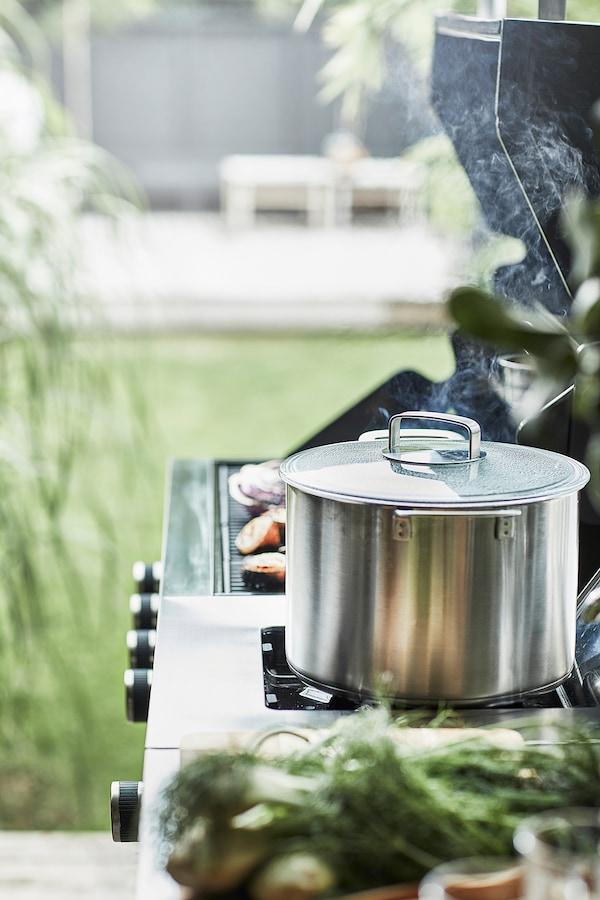 "GRILLSKÄR Side burner, black/stainless steel outdoor, 18 7/8x24 """