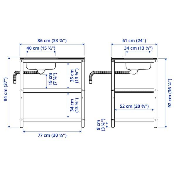 """GRILLSKÄR Sink unit, black/stainless steel outdoor, 33 7/8x24 """""""