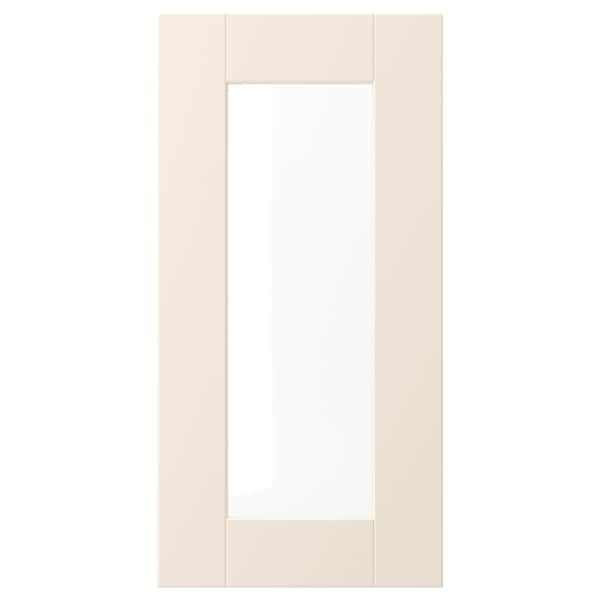 "GRIMSLÖV glass door off-white 14 7/8 "" 30 "" 15 "" 29 7/8 "" 3/4 """