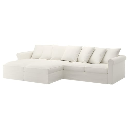 "GRÖNLID sectional, 4-seat with chaise/Inseros white 41 "" 64 5/8 "" 133 1/2 "" 38 5/8 "" 49 5/8 "" 2 3/4 "" 7 1/8 "" 26 3/4 "" 119 1/4 "" 23 5/8 "" 19 1/4 """