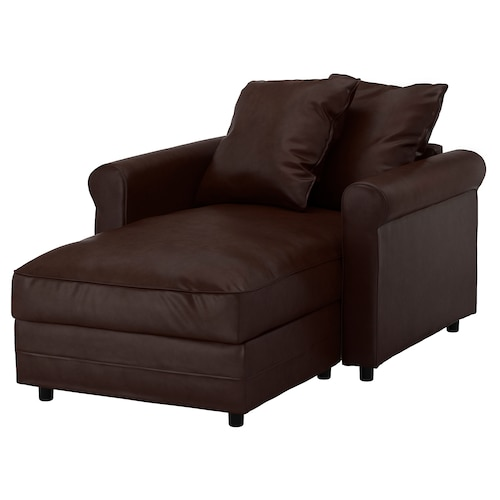 """GRÖNLID chaise Kimstad dark brown 41 """" 46 1/8 """" 64 5/8 """" 2 3/4 """" 7 1/8 """" 26 3/4 """" 31 7/8 """" 49 5/8 """" 19 1/4 """""""