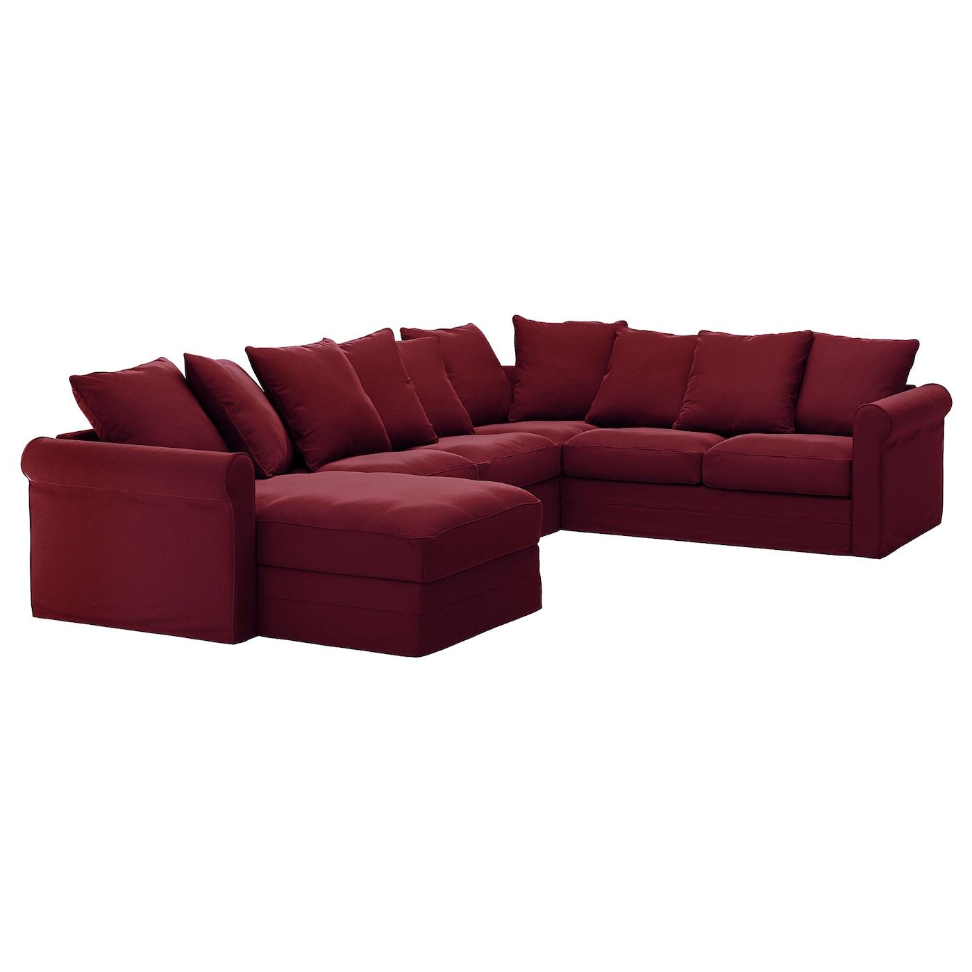 Sectional, 5-seat corner GRÖNLID with chaise, Ljungen dark red