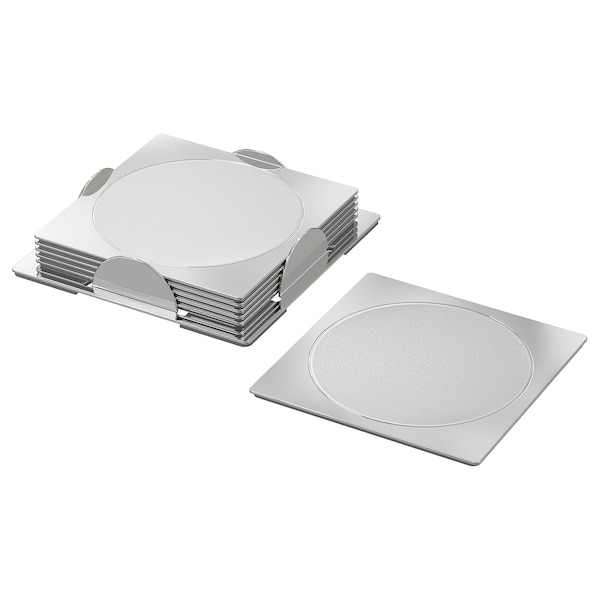 """GROGGY Coaster, square/stainless steel, 3 1/8x3 1/8 """""""