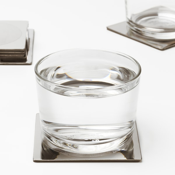 GROGGY Coaster, square/stainless steel, 3 1/8x3 1/8 ""