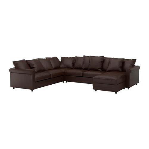 GRÖNLID Corner sleeper sofa, 5-seat, with chaise, Kimstad dark brown