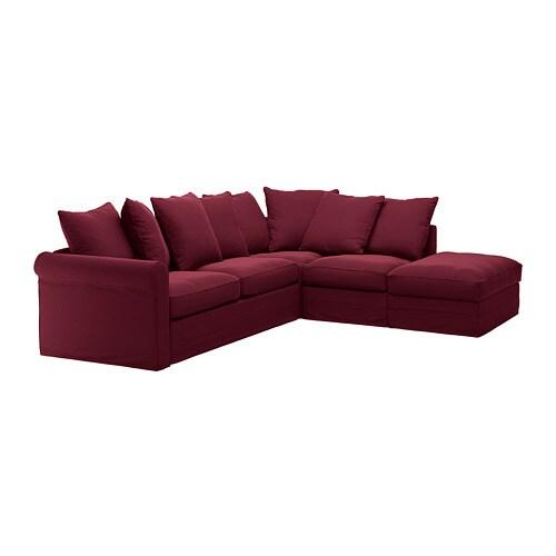 GRÖNLID Corner sleeper sofa, 4-seat, with open end, Ljungen dark red