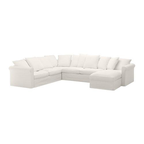 GRÖNLID Corner sleeper sofa, 5-seat - with chaise/Inseros white - IKEA