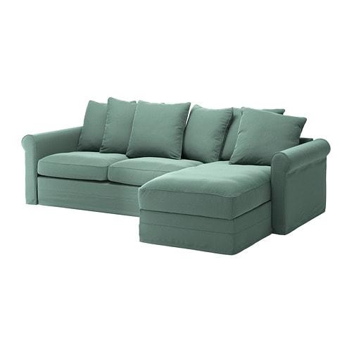 GRÖNLID - Sleeper sofa, with chaise, Ljungen light green