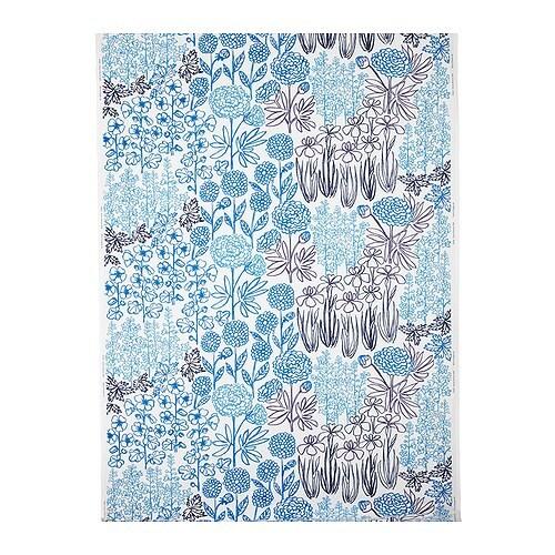 "GRÖNSKA BLOM Fabric white/blue Width: 59 "" Pattern repeat: 24 ""  Width: 150 cm Pattern repeat: 61 cm"