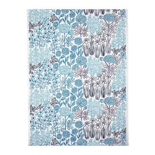 "GRÖNSKA BLOM Fabric, white/blue Width: 59 "" Pattern repeat: 24 ""  Width: 150 cm Pattern repeat: 61 cm"