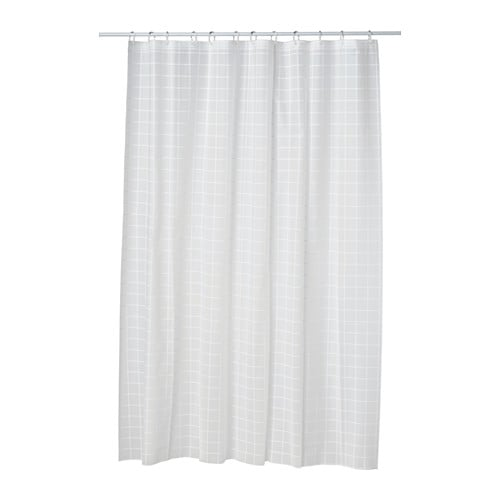 Gr nska shower curtain ikea for White curtains ikea