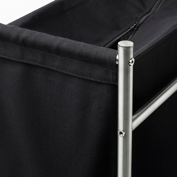 GRUNDTAL Laundry bin with casters, stainless steel/black, 18 gallon