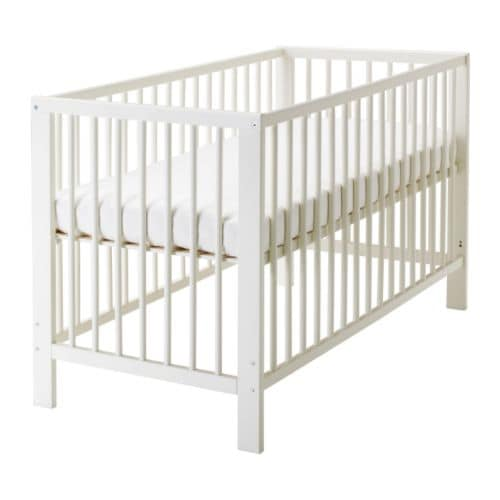 "GULLIVER Crib white Length: 53 1/2 "" Width: 29 1/2 "" Height: 32 5/8 "" Bed width: 27 1/2 "" Bed length: 52 ""  Length: 136 cm Width: 75 cm Height: 83 cm Bed width: 70 cm Bed length: 132 cm"
