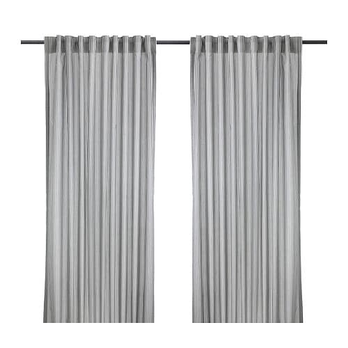 GULSPORRE Curtains, 1 pair , white, gray Length: 98