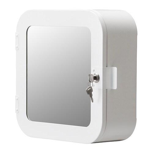 GUNNERN Lockable mirror cabinet, white white 12 5/8x12 5/8
