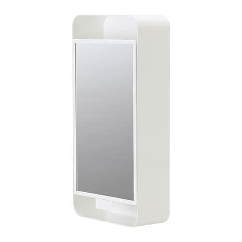 GUNNERN Mirror cabinet with 1 door IKEA Shelves with raised edge for safe storage.