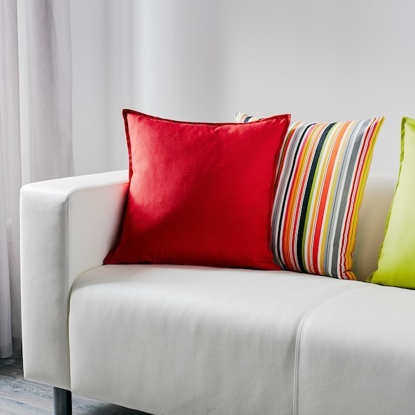 GURLI Cushion cover, red, 20x20 ""