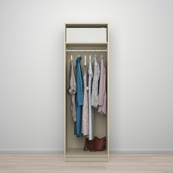 """GURSKEN Wardrobe with 2 doors, light beige, 23 3/8x21 5/8x73 1/8 """""""