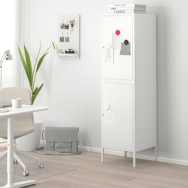 "HÄLLAN storage combination with doors white 17 3/4 "" 18 1/2 "" 65 3/4 """