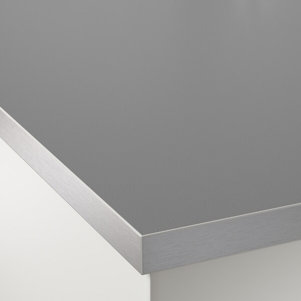HÄLLESTAD Countertop, double-sided, white aluminum effect/metal effect edge laminate, 98x1 1/2 ""