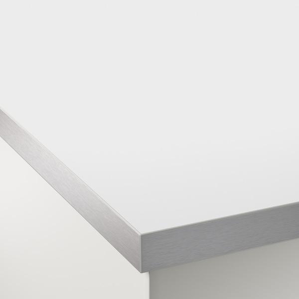 "HÄLLESTAD countertop, double-sided white aluminum effect/metal effect edge laminate 98 "" 25 5/8 "" 1 1/2 """