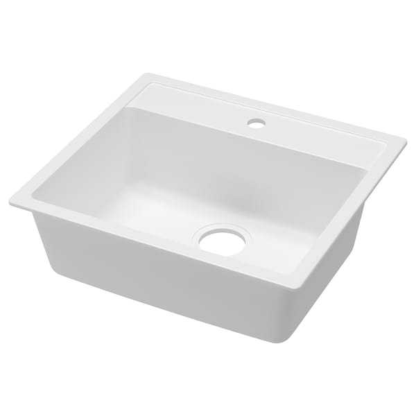 Single bowl top mount sink HÄLLVIKEN white quartz composite