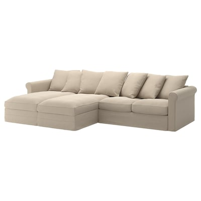 "HÄRLANDA sectional, 4-seat with chaise/Sporda natural 41 "" 64 5/8 "" 134 1/4 "" 38 5/8 "" 49 5/8 "" 2 3/8 "" 7 1/2 "" 28 "" 119 1/4 "" 23 5/8 "" 19 1/4 """