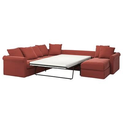 HÄRLANDA Corner sleeper sofa, 5-seat, with chaise/Ljungen light red