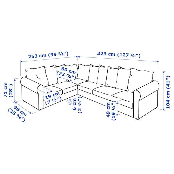 HÄRLANDA Sectional, 5-seat corner, Ljungen medium gray