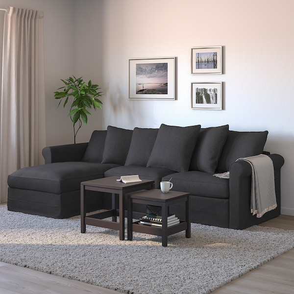 HÄRLANDA Sleeper sofa, with chaise/Sporda dark gray