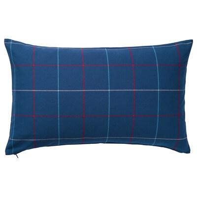 "HÄSSLEBRODD Cushion, blue/multicolor check, 16x26 """