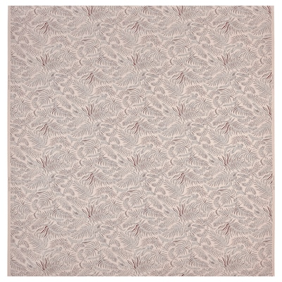 HAKVINGE Fabric, natural dark red/leaf patterned, 59 ""