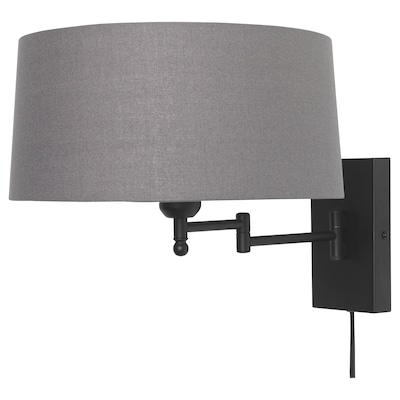"HALKIP wall lamp with swing arm gray 13 W 18 "" 12 "" 14 "" 5 ' 11 """