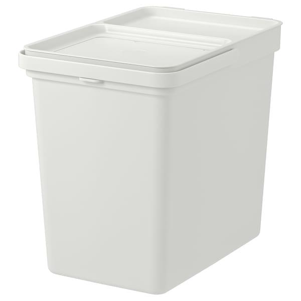 HÅLLBAR Bin with lid, light gray, 6 gallon