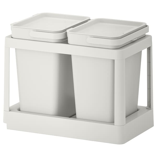 HÅLLBAR Recycling solution, with pull-out/light gray, 5 gallon