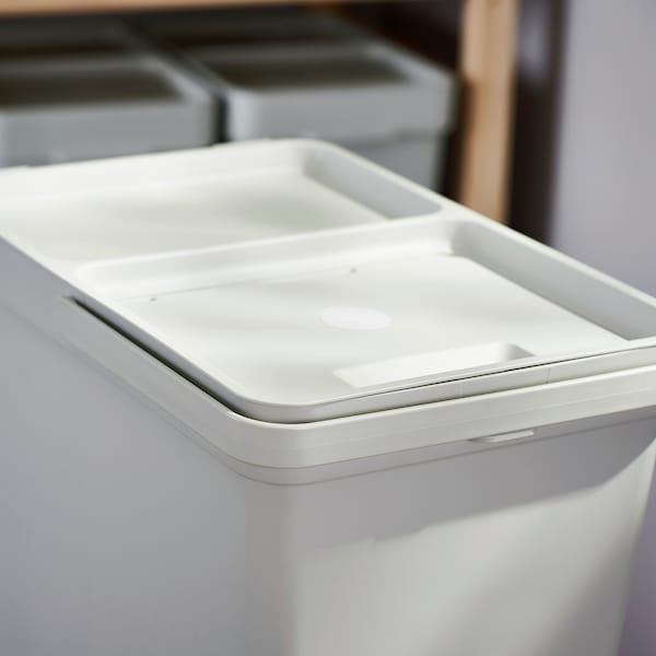 HÅLLBAR Recycling solution, with pull-out/light gray, 6 gallon