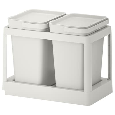 HÅLLBAR recycling solution with pull-out/light gray 5 gallon