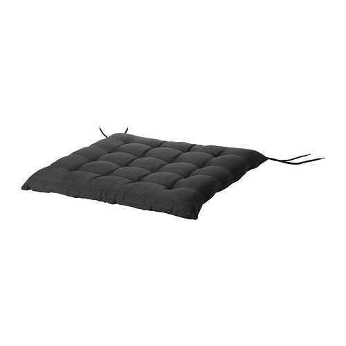 HÅLLÖ Chair pad, outdoor, black black 20x20